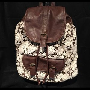 Backpack purse crochet lace faux brown leather